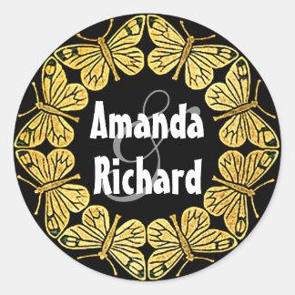 Golden Butterfly Wedding Classic Round Sticker