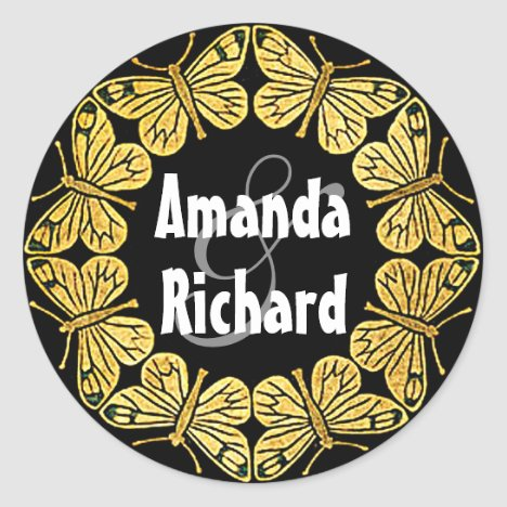Golden Butterfly Wedding Classic Round Sticker
