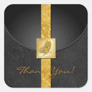 Golden Butterfly Wedding Favor Thank You Stickers