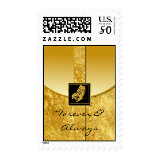 Golden Butterfly Whimsy Wedding Postage Stamp