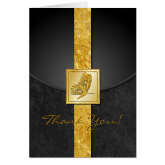 Golden Butterfly Whimsy Wedding Thank You Card