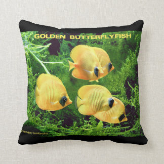 Golden Butterflyfish and Chaetodon Semilarvatus Throw Pillow