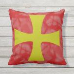 Golden Byzantine Cross Red Background Outdoor Pillow