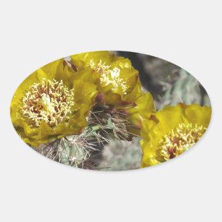 Golden Cactus Flowers Oval Sticker