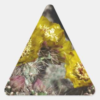 Golden Cactus Flowers Triangle Sticker