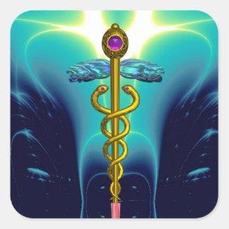 GOLDEN CADUCEUS Medical Symbol Vibrant Teal Blue Square Sticker
