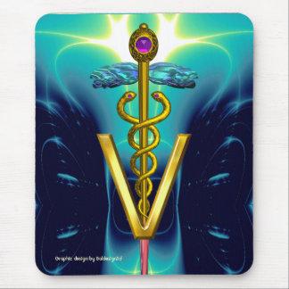 GOLDEN CADUCEUS VETERINARY SYMBOL / Aqua Blue Teal Mouse Pad