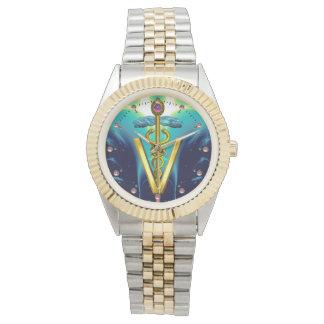 GOLDEN CADUCEUS VETERINARY SYMBOL / Aqua Blue,Teal Watches