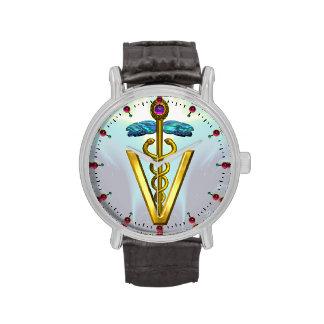 GOLDEN CADUCEUS VETERINARY SYMBOL / Aqua Blue Watches