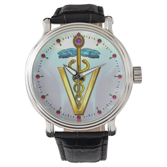 GOLDEN CADUCEUS VETERINARY SYMBOL / Aqua Blue Watch