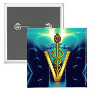 GOLDEN CADUCEUS VETERINARY SYMBOL / Blue Turquoise Button