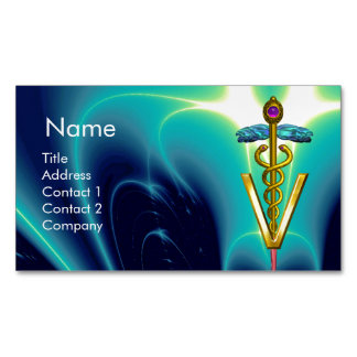 GOLDEN CADUCEUS VETERINARY SYMBOL / Blue Turquoise Magnetic Business Card