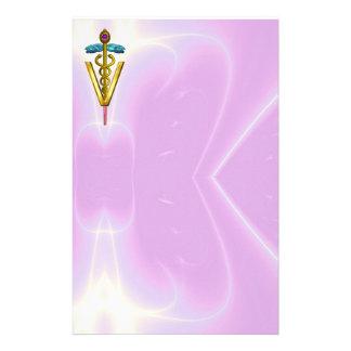 GOLDEN CADUCEUS VETERINARY SYMBOL / Pink Lilac Stationery