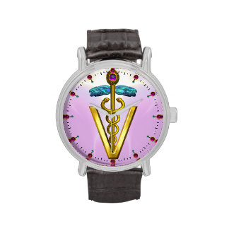 GOLDEN CADUCEUS VETERINARY SYMBOL / Pink,Lilac Wristwatch