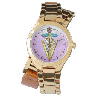 GOLDEN CADUCEUS VETERINARY SYMBOL / Pink,Lilac Watches