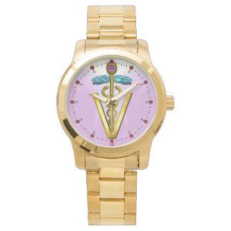GOLDEN CADUCEUS VETERINARY SYMBOL / Pink,Lilac Wrist Watches