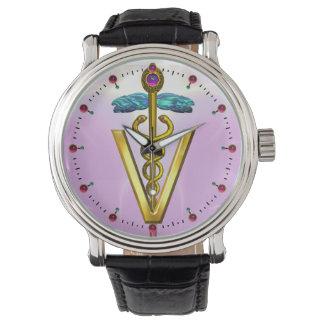 GOLDEN CADUCEUS VETERINARY SYMBOL / Pink,Lilac Wristwatches