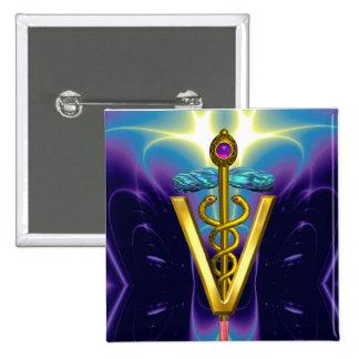 GOLDEN CADUCEUS VETERINARY SYMBOL / Purple Blue Pinback Button