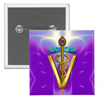 GOLDEN CADUCEUS VETERINARY SYMBOL / Purple Fuchsia Button
