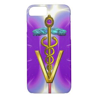 GOLDEN CADUCEUS VETERINARY SYMBOL / Purple Fuchsia iPhone 8/7 Case