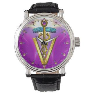GOLDEN CADUCEUS VETERINARY SYMBOL / Purple Fuchsia Watch