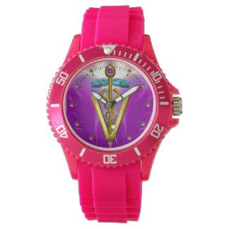 GOLDEN CADUCEUS VETERINARY SYMBOL / Purple Fuchsia Wristwatch
