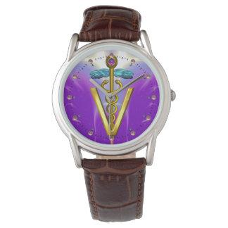 GOLDEN CADUCEUS VETERINARY SYMBOL / Purple Wrist Watches