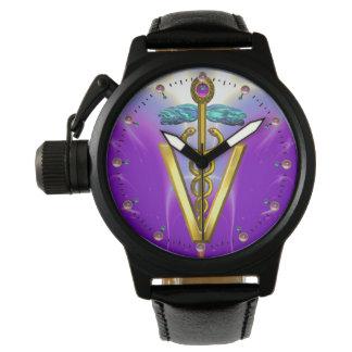 GOLDEN CADUCEUS VETERINARY SYMBOL / Purple Wristwatch