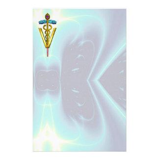 GOLDEN CADUCEUS VETERINARY SYMBOL / Teal Blue Stationery