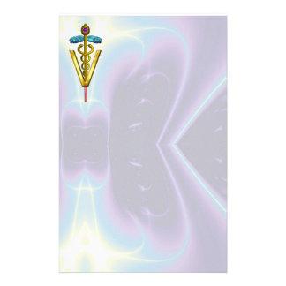 GOLDEN CADUCEUS VETERINARY SYMBOL / Teal Purple Stationery