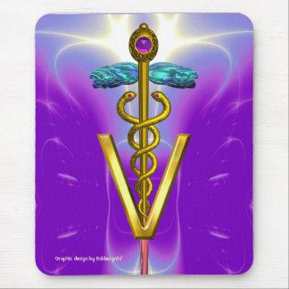 GOLDEN CADUCEUS VETERINARY SYMBOL / Violet Purple Mouse Pad