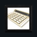 "Golden calculator keepsake box<br><div class=""desc"">Golden calculator on white background</div>"