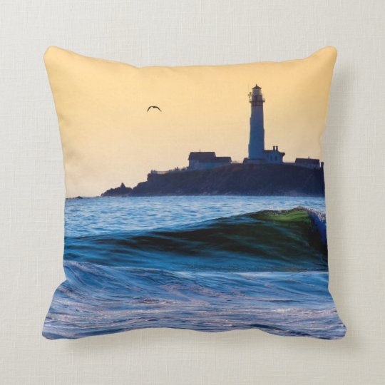 Golden California Coast - Pigeon Point Lighthouse Throw Pillow