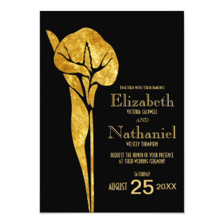 Golden Calla Lily 1920 Art Deco Wedding Invitation