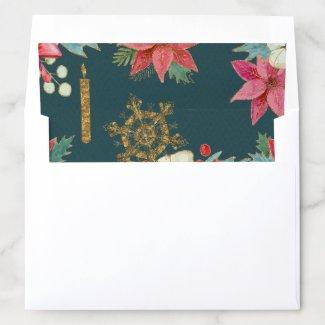 Golden Candle Christmas Floral Envelope Liner