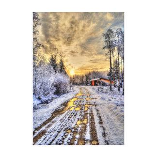 Golden Cariboo Winter Ranch Sunrise Nature Scenery Canvas Print