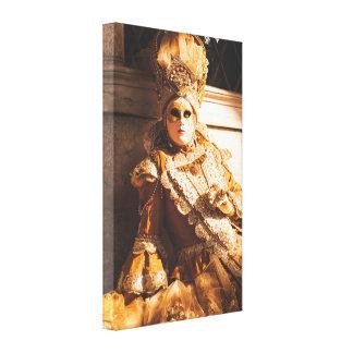 Golden carnival mask canvas print