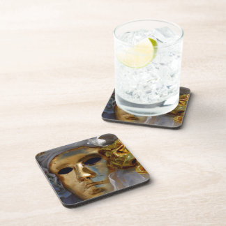 Golden Carnival Mask Drink Coaster