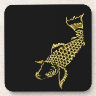 Golden carp good luck drink coaster