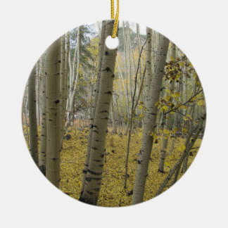 Golden Carpet Beneath a Grove of Quaking Aspen Ceramic Ornament