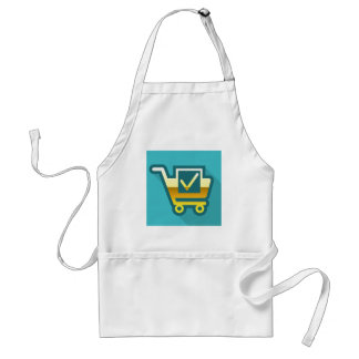 Golden Cart Icon with check mark Adult Apron