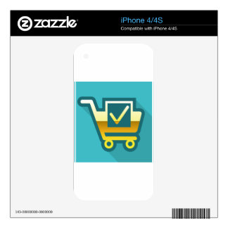 Golden Cart Icon with check mark Skin For iPhone 4S