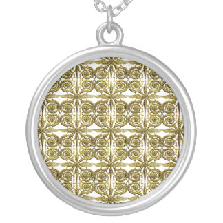 Golden cast pattern silver plated necklace