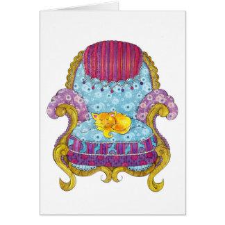 Golden Cat in Chair Card