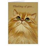 Golden Cat Thinking Of You - Card