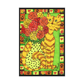 Golden Cat with Roses Canvas Print
