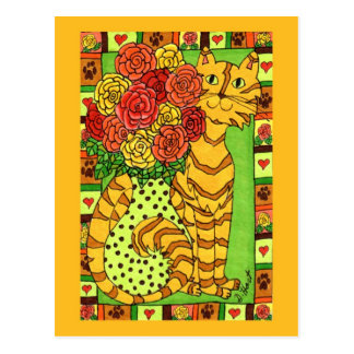 Golden Cat with Roses Postcard