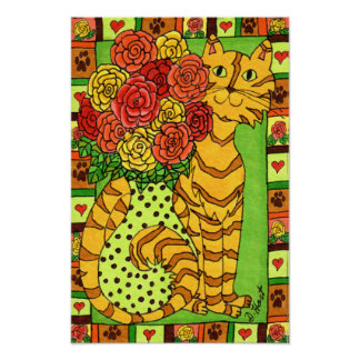 Golden Cat with Roses Poster