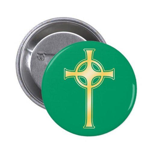 Golden Celtic Christian Cross 2 Inch Round Button