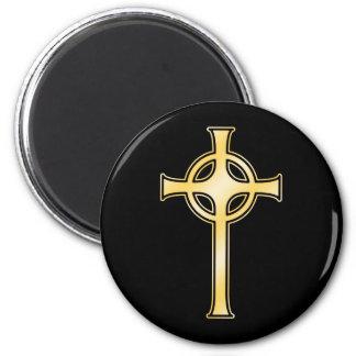 Golden Celtic Christian Cross Magnet